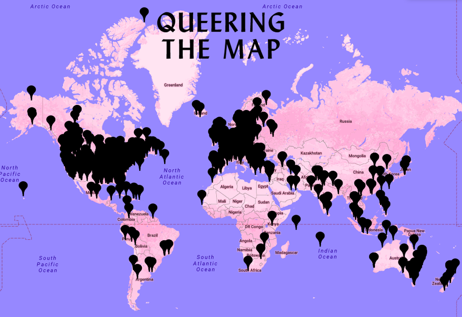 Printscreen z webu projektu Queering the Map