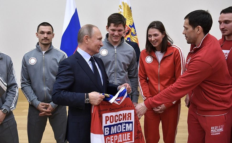 Vladimír Putin na setkání se sportovci, kteří pojedou na olympijské hry do jihokorejského Pchjongčchangu