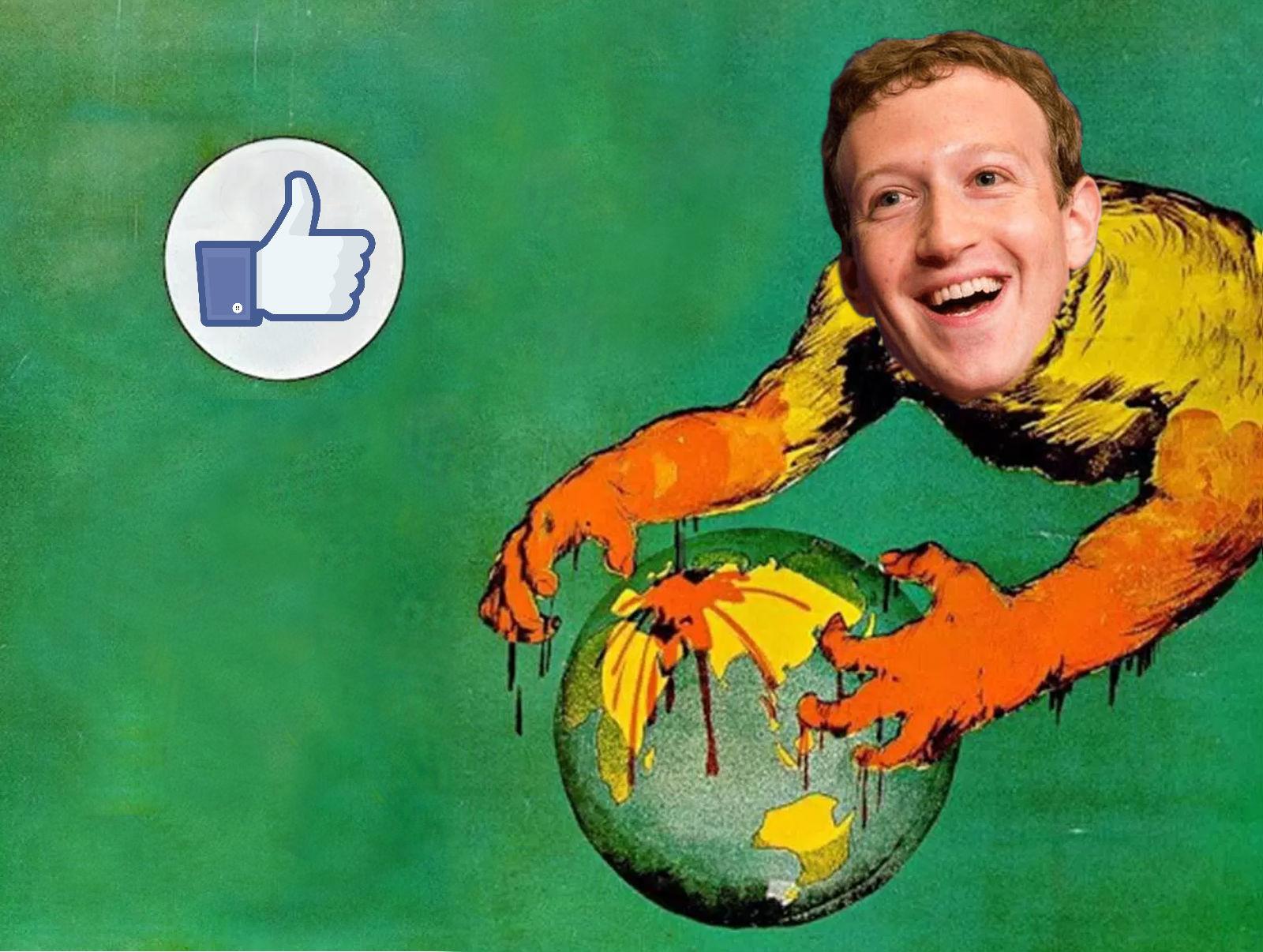 Mark Zuckerberg se zmocňuje planety Země (variace na náborový plakát Normana Lindsayho z I. světové války)