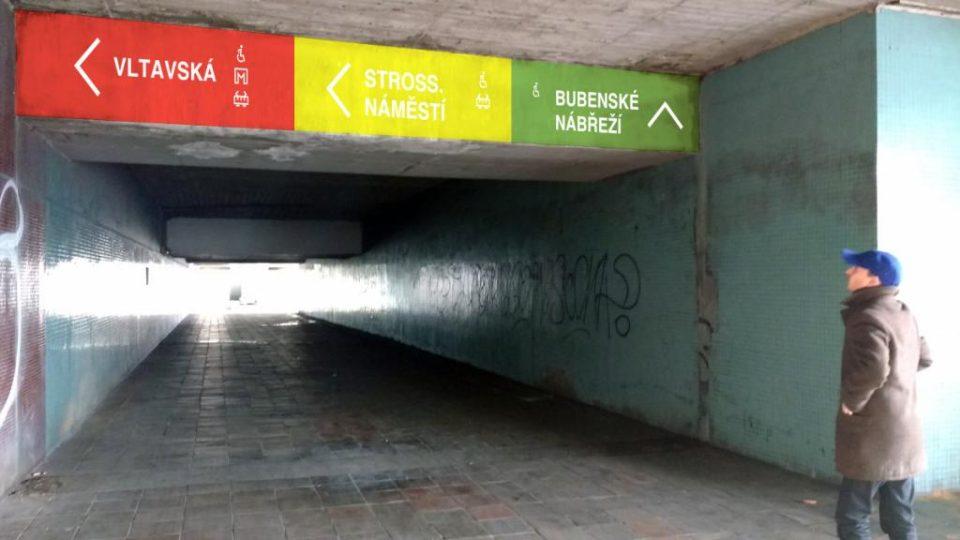Orientační systém – podchody na Vltavské