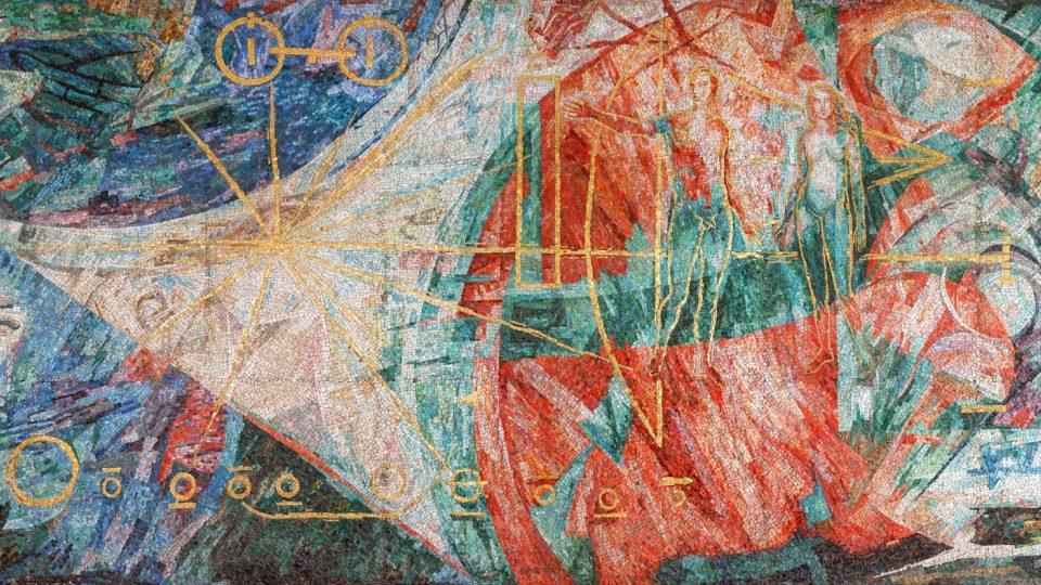 Mozaika z ÚTB zobrazující Lidstvo dobývající vesmír od Saura Ballardini, dokončeno 1980, foto: archiv Art & Craft Mozaika, Ivan Bárta 2019