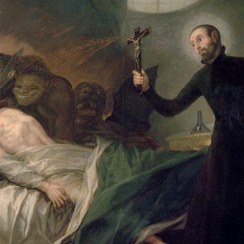 František Borgia obrací na víru umírajícího hříšníka, cca 1788