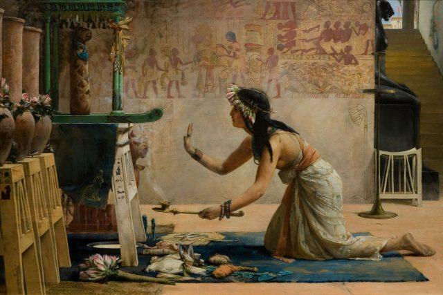 John Reinhard Weguelin: The Obsequies of an Egyptian Cat (1886)