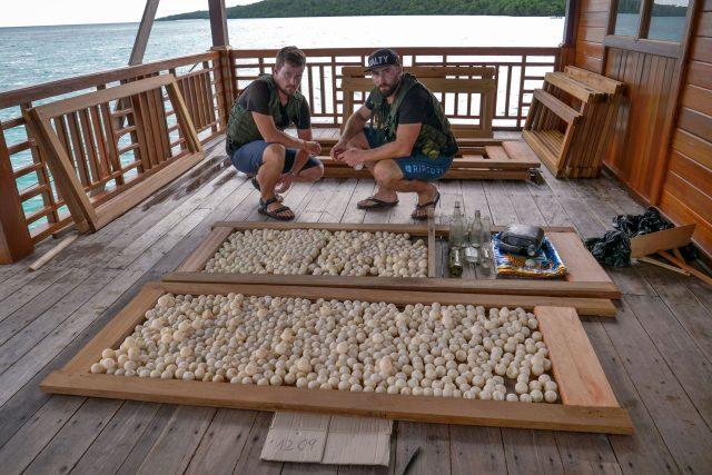 Skupina Wildlife Guards (vlevo Michal Gálik, vpravo Tomáš Ouhel) se zkonfiskovanými želvími vajíčky (1 209 kusů) a trhavinou